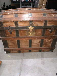 Antique Steamer Trunk Vintage Victorian Wooden amp; Medal Dome Top Chest MM Secor $500.00