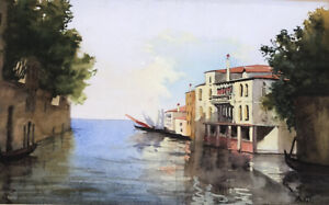 Fabulous Antique Original Watercolor European Coastal Scene Signed $99.00