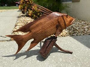 HOGFISH ON ROOT HAND CARVED WOOD ART HOME DECOR FISH TIKI BAR SALTWATER $79.99
