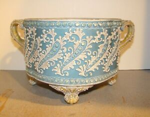 Nippon Moriage Handled Footed Jardiniere Ferner Bowl