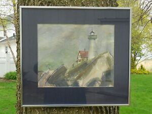 Vintage Framed Water Color quot;Lighthousequot; Signed Grace Mitchell # $34.95