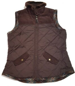 Cabi Womens M Quilted Puffer Zip Vest Fleece Lined Brown Jacket Pockets