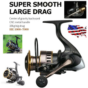 Freshwater or Saltwater Spinning Fishing Reels HE1000 7000 Smooth amp; Powerful US