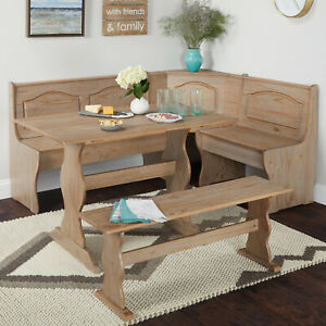 Country Style Rustic Finished Corner Nook Dining Set Table Bench Set Solid Wood $479.99