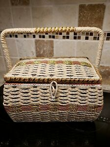 Vintage DRITZ Sewing Basket Tan Woven Wicker With Embroidery Floss JAPAN TS $29.99