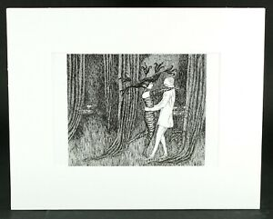 Edward Gorey From The Other Statue Illustration Print White Matted Style A $17.99