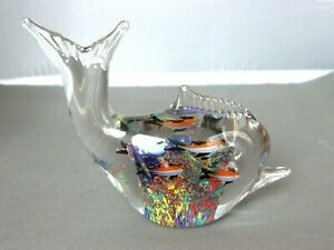 Clear Fish Shaped Paperweight w Colorful Fish and Reef Interior Figurine Statue $8.00