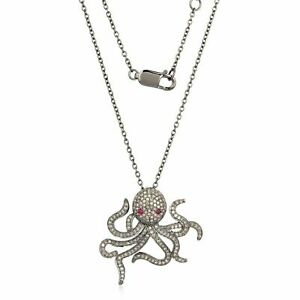 Natural Ruby Octopus Eyes Pave Diamond Pendant Necklace Silver Jewelry SE