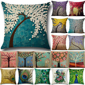 Tree Flowers Peacock Pillow Case Sofa Bedroom Home Decor Throw Cushion Covers $6.74