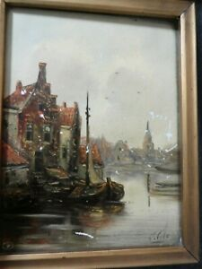 SIGNED DUTCH? ANTIQUE PAINTING ON PORCELAIN 1900S VILLAGE LAKE BOAT ART OLD $99.99