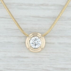 0.54ct Floating Diamond Pendant Necklace 14k Yellow Gold 16quot; Snake Chain Italian