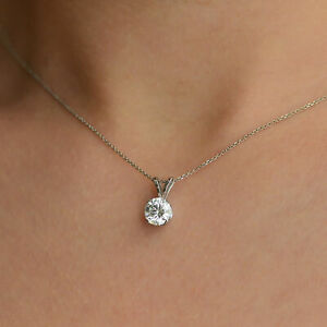 1 2 Carat Classic Solitaire Round Diamond Pendant Necklace H I2 14K White Gold