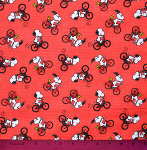 Snoopy Fabric HALF YARD 100% Cotton Peanuts Bike Red Woodstock Sewing Quilting $10.98