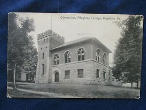 1908 Meadville Pennsylvania College Gymnasium Postcard amp; Flag Cancel $3.99