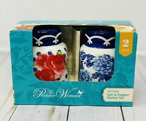 Pioneer Woman Frontier Rose Salt and Pepper Shakers stoneware medium size floral