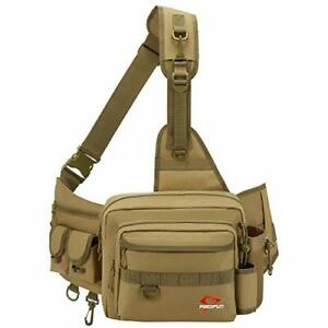 Sling Fishing Tackle Bag Outdoor Fishing Storage Pack Water Resistant Khaki