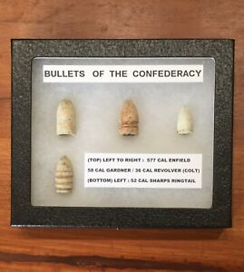 CIVIL WAR ARTIFACTS BULLETS OF THE CONFEDERACY W I DISPLAY BOX amp; INFO $35.00