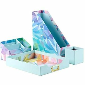 Erin Condren Designer Desk Organizer Set 4 Pieces Colorful Kaleidoscope. And