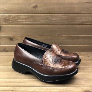 Dansko Mandolin Brown Embossed Comfort Nursing Clog Women Sz EU40 US 9.5 10