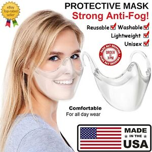 CLEAR Face Mask Shield Plastic Reusable Protective Cover Transparent Anti Fog $9.95