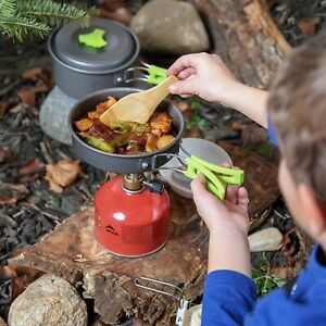 MalloMe Camping Cookware Mess Kit Gear – Camp Accessories Equipment Pots and Pan