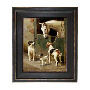 Dog and Horse at Stable Framed Oil Painting Print on Canvas $102.50