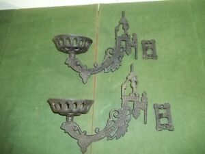 Pair Cast Iron Victorian Oil Lamp Swing Arm Wall Mount Sconces w Brackets $99.99