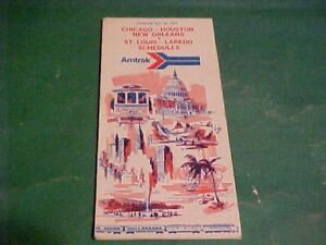 1975 AMTRAK RAILROAD TIMETABLE CHICAGO HOUSTON LAREDO
