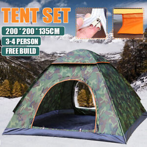 3 4 Person Tent Waterproof Automatic Instant Pop Up Outdoor Camping quot;Camouflage