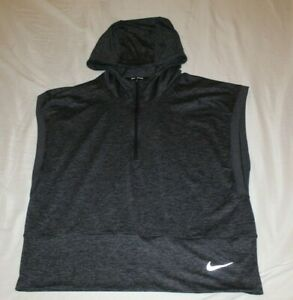 Nike Running Dri Fit Hooded Ltwt Vest Charcoal 12 Zip Pullover Large $26.99