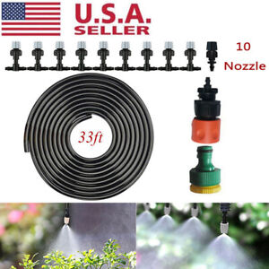 33 FT Water Mister Nozzles Set Outdoor Misting Cooling System Garden Irrigation