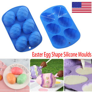 6 Holes Easter Egg Shape Silicone Baking Moulds Chocolate Mould Cake Dough Tray $8.49