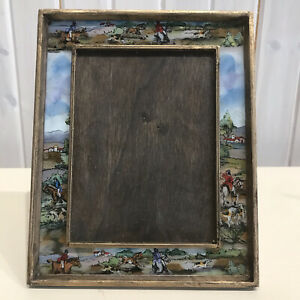 VTG Wooden Picture Frame Painted Glass Country Side Hunting Scenes