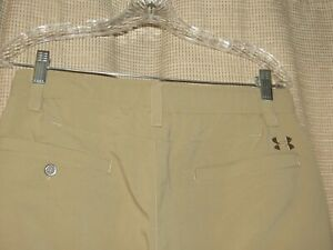 UNDER ARMOUR golf pants mens 32 x 30 tan loose fit microfiber flat front EUC $19.99