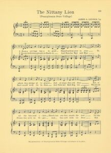 PENN STATE UNIVERSITY Vintage Song Sheet c1927 quot;The Nittany Lionquot; Original