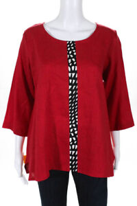 Christopher Calvin Womens Three Quarter Sleeve Top Red Black White Size Small $29.01