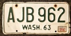 1963 WASH. LICENSE PLATE # AJB 962 Vintage old WA #x27;63 63 #x27;60#x27;S WASHINGTON