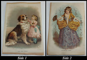 1890 Little Lady amp; 123 Girl amp; St Bernard Lithograph Prints Gast Art Press NY $19.99