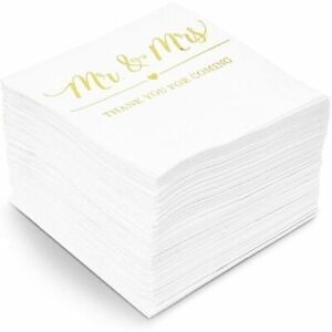 100x Mr Mrs Gold Foil Cocktail Napkins for Weddings Party white 5 inch 3 Ply