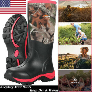 HISEA Women#x27;s Hunting Boots Breathable amp; Insulated Rubber Muck Mud Working Boots