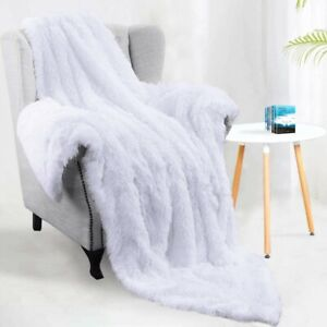 Decorative Sofa Throw Blanket Bed Soft Sherpa Plush Faux Fur Luxury Warm White