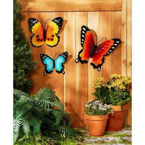 Wall Art Indoor Outdoor Metal Wall Decor Butterfly Set of 3 $19.50