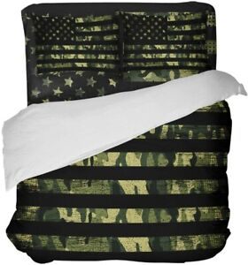 LOVE HOME DAY Camouflage American Flag Bedding Sets Queen Ultra Soft 4 Pieces Du
