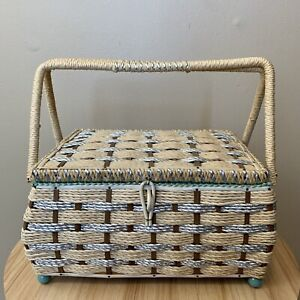 Vintage Musical SEWING Storage Woven Wicker BASKET Teal Lining Tan Craft Box $16.99