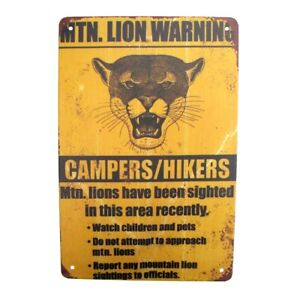 Metal Mountain Lion Warning Beware Caution Wall Sign Outdoor Hunting Cabin Decor