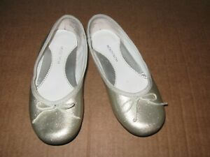 Nordstrom silver sparkle ballet flats size 12 Girls shoes metallic slip on $13.98