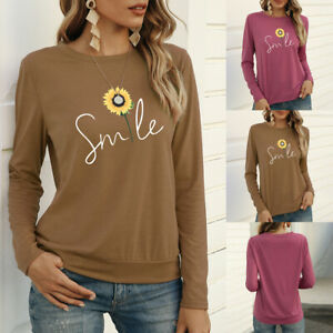 Womens Sunflower Long Sleeve T Shirt Casual Basic Tunic Top Loose Blouse Tee US $9.99