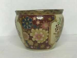 Antique Japanese Satsuma Beautifully Hand Painted Fish Bowl Planter 4 RARE