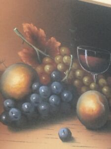Antique Original Pastel Still Life Painting Grapes Fruit Framed $225.00