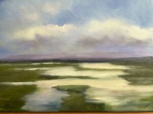 New Original Signed Oil Painting Realism Low Country Marsh Landscape Tidal Creek $97.50